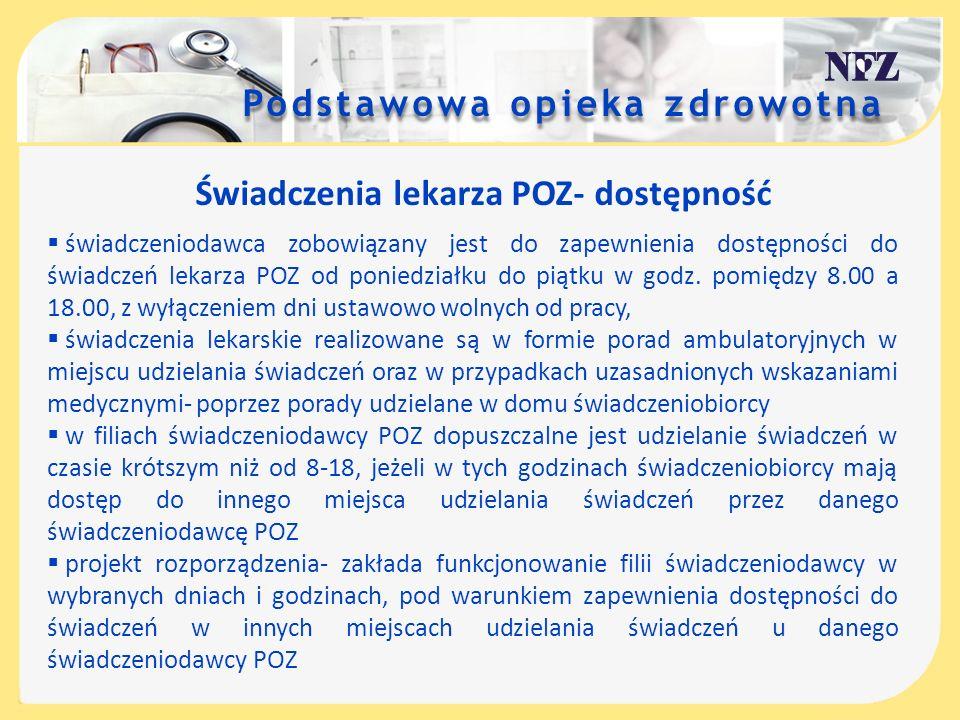 Podstawowa opieka zdrowotna Świadczenia pielęgniarki POZ- dostępność świadczeniodawca zobowiązany jest do zapewnienia dostępności do świadczeń pielęgniarki POZ od poniedziałku do piątku w godz.