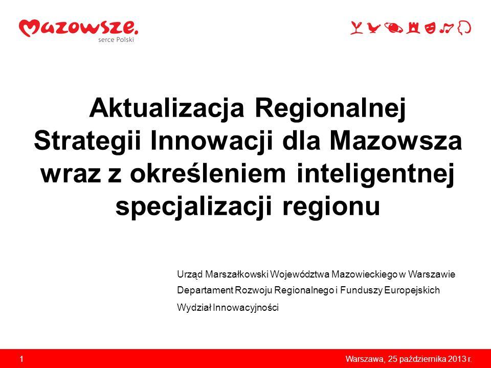 1Warszawa, 25 października 2013 r. Aktualizacja Regionalnej Strategii Innowacji dla Mazowsza wraz z określeniem inteligentnej specjalizacji regionu Ur