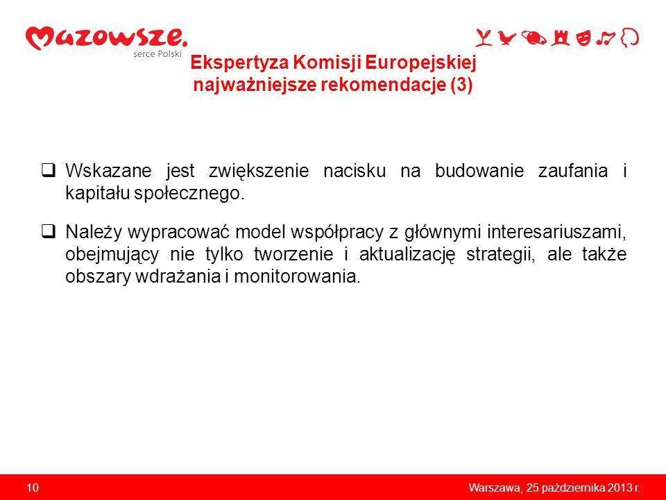 10Warszawa, 25 października 2013 r. Ekspertyza Komisji Europejskiej najważniejsze rekomendacje (3) Wskazane jest zwiększenie nacisku na budowanie zauf