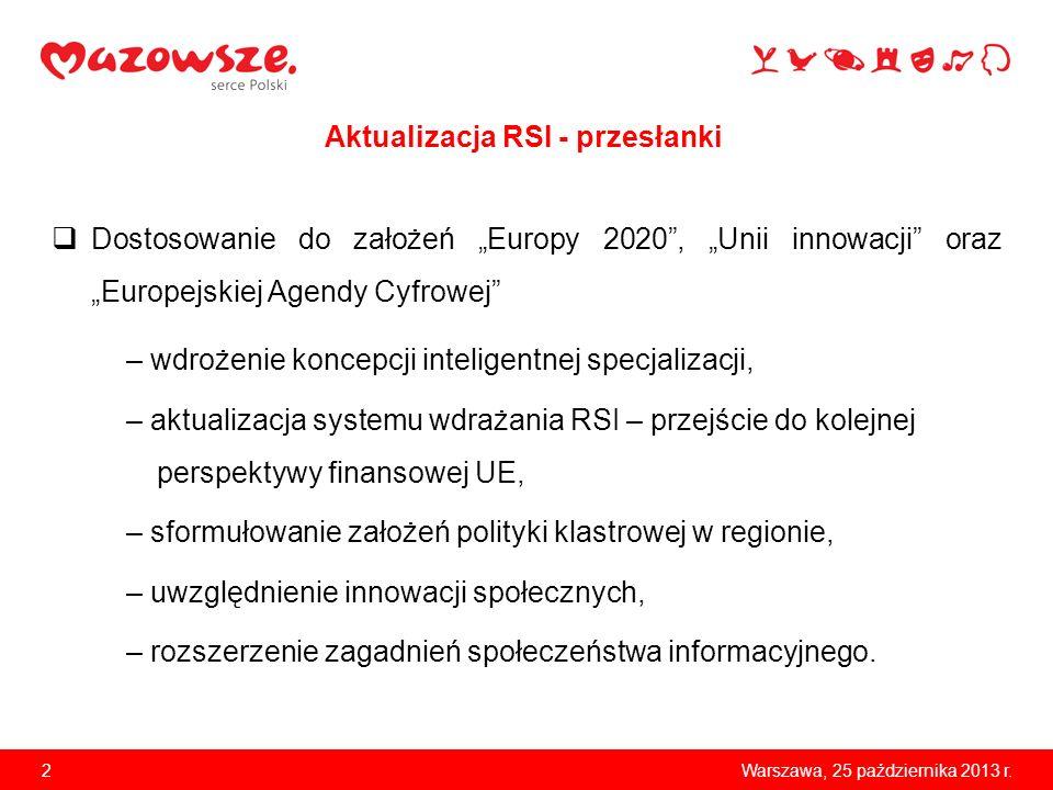 2Warszawa, 25 października 2013 r. Dostosowanie do założeń Europy 2020, Unii innowacji oraz Europejskiej Agendy Cyfrowej – wdrożenie koncepcji intelig