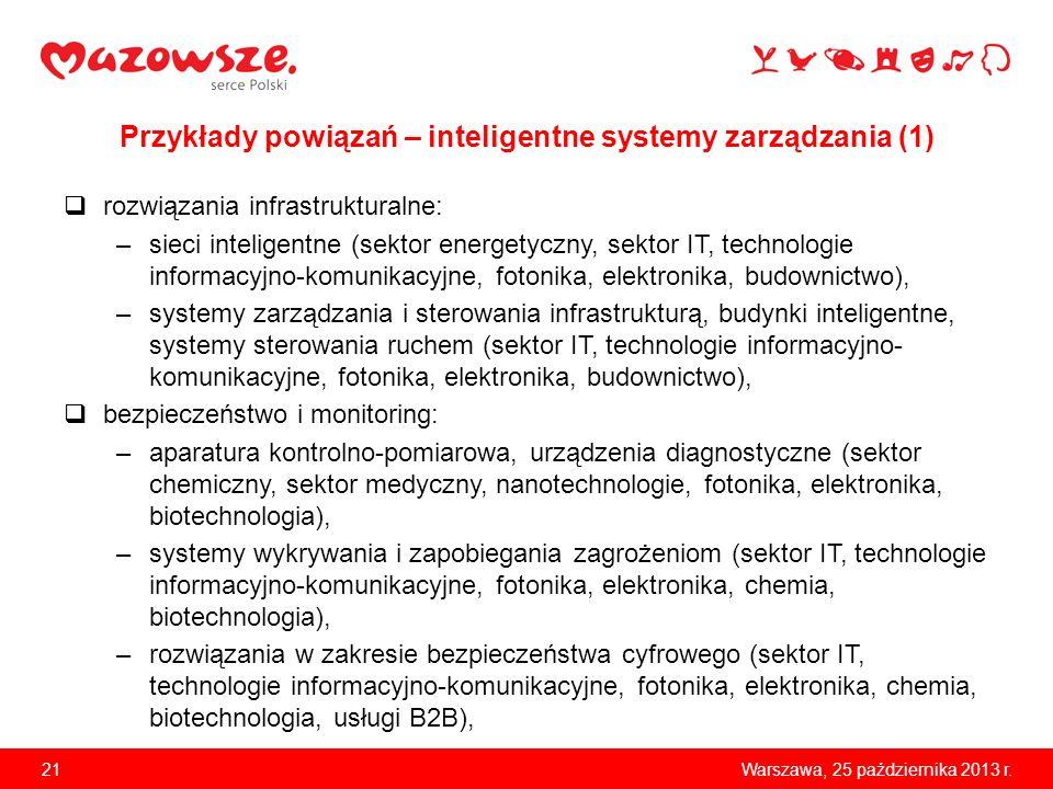 21Warszawa, 25 października 2013 r. Przykłady powiązań – inteligentne systemy zarządzania (1) rozwiązania infrastrukturalne: –sieci inteligentne (sekt