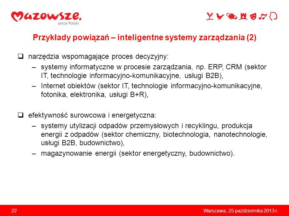 22Warszawa, 25 października 2013 r. Przykłady powiązań – inteligentne systemy zarządzania (2) narzędzia wspomagające proces decyzyjny: –systemy inform