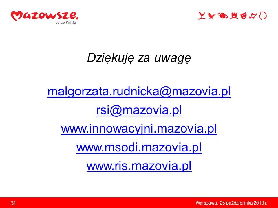 31Warszawa, 25 października 2013 r. Dziękuję za uwagę malgorzata.rudnicka@mazovia.pl rsi@mazovia.pl www.innowacyjni.mazovia.pl www.msodi.mazovia.pl ww