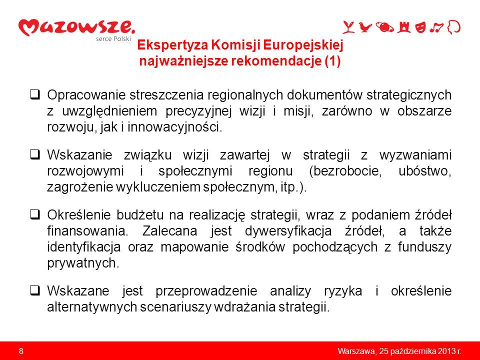 8Warszawa, 25 października 2013 r. Ekspertyza Komisji Europejskiej najważniejsze rekomendacje (1) Opracowanie streszczenia regionalnych dokumentów str