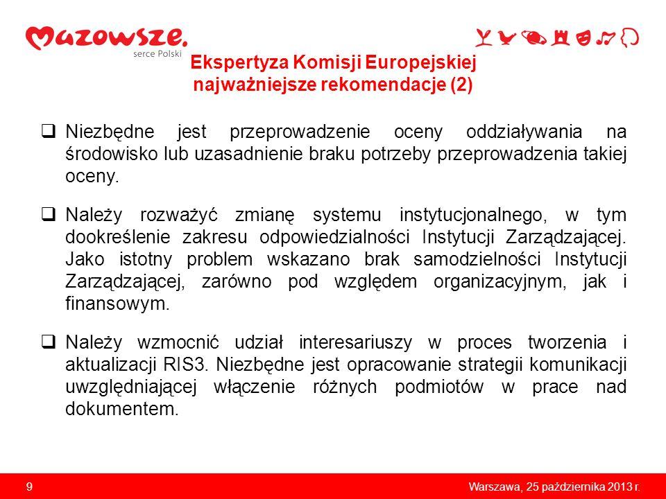 9Warszawa, 25 października 2013 r. Ekspertyza Komisji Europejskiej najważniejsze rekomendacje (2) Niezbędne jest przeprowadzenie oceny oddziaływania n
