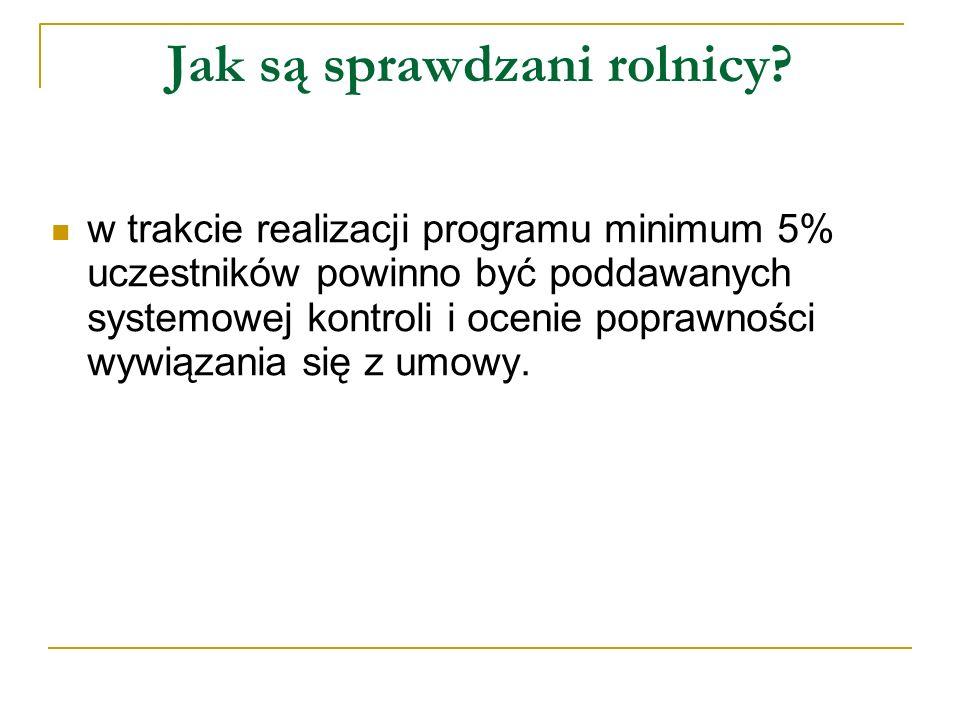Jak są sprawdzani rolnicy? w trakcie realizacji programu minimum 5% uczestników powinno być poddawanych systemowej kontroli i ocenie poprawności wywią