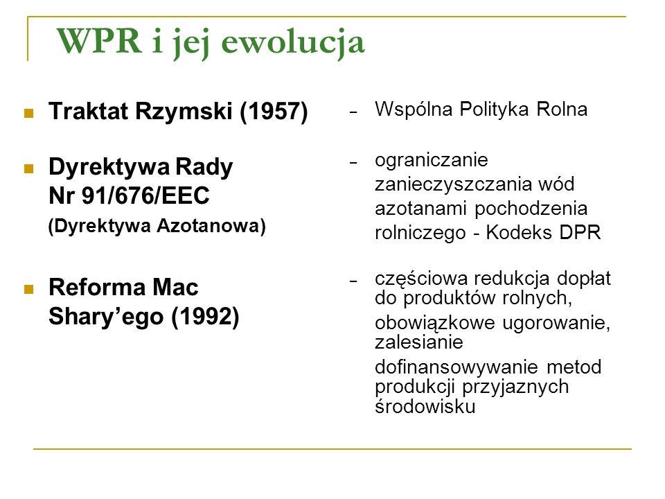 WPR i jej ewolucja Traktat Rzymski (1957) Dyrektywa Rady Nr 91/676/EEC (Dyrektywa Azotanowa) Reforma Mac Sharyego (1992) – Wspólna Polityka Rolna – ograniczanie zanieczyszczania wód azotanami pochodzenia rolniczego - Kodeks DPR – częściowa redukcja dopłat do produktów rolnych, obowiązkowe ugorowanie, zalesianie dofinansowywanie metod produkcji przyjaznych środowisku