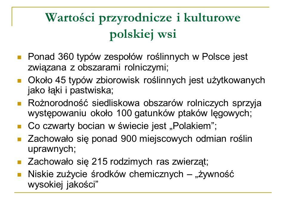 Wartości przyrodnicze i kulturowe polskiej wsi Ponad 360 typów zespołów roślinnych w Polsce jest związana z obszarami rolniczymi; Około 45 typów zbior