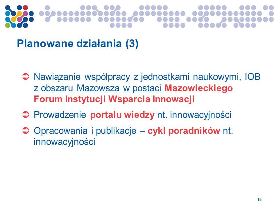 Planowane działania (3) Nawiązanie współpracy z jednostkami naukowymi, IOB z obszaru Mazowsza w postaci Mazowieckiego Forum Instytucji Wsparcia Innowa