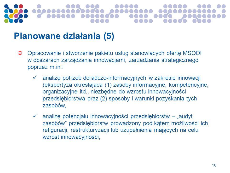 Planowane działania (5) Opracowanie i stworzenie pakietu usług stanowiących ofertę MSODI w obszarach zarządzania innowacjami, zarządzania strategiczne