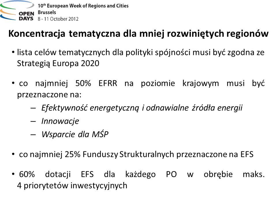 Koncentracja tematyczna dla mniej rozwiniętych regionów lista celów tematycznych dla polityki spójności musi być zgodna ze Strategią Europa 2020 co na