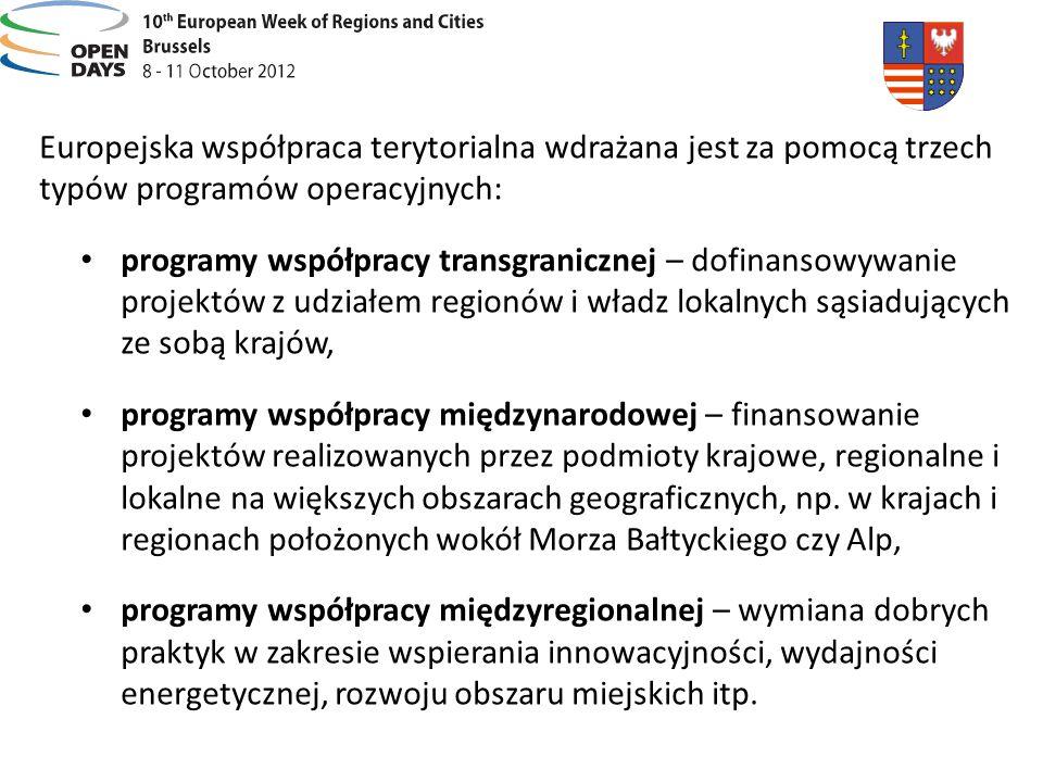 Europejska współpraca terytorialna wdrażana jest za pomocą trzech typów programów operacyjnych: programy współpracy transgranicznej – dofinansowywanie