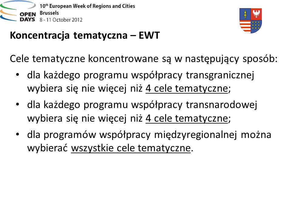 Koncentracja tematyczna – EWT Cele tematyczne koncentrowane są w następujący sposób: dla każdego programu współpracy transgranicznej wybiera się nie w