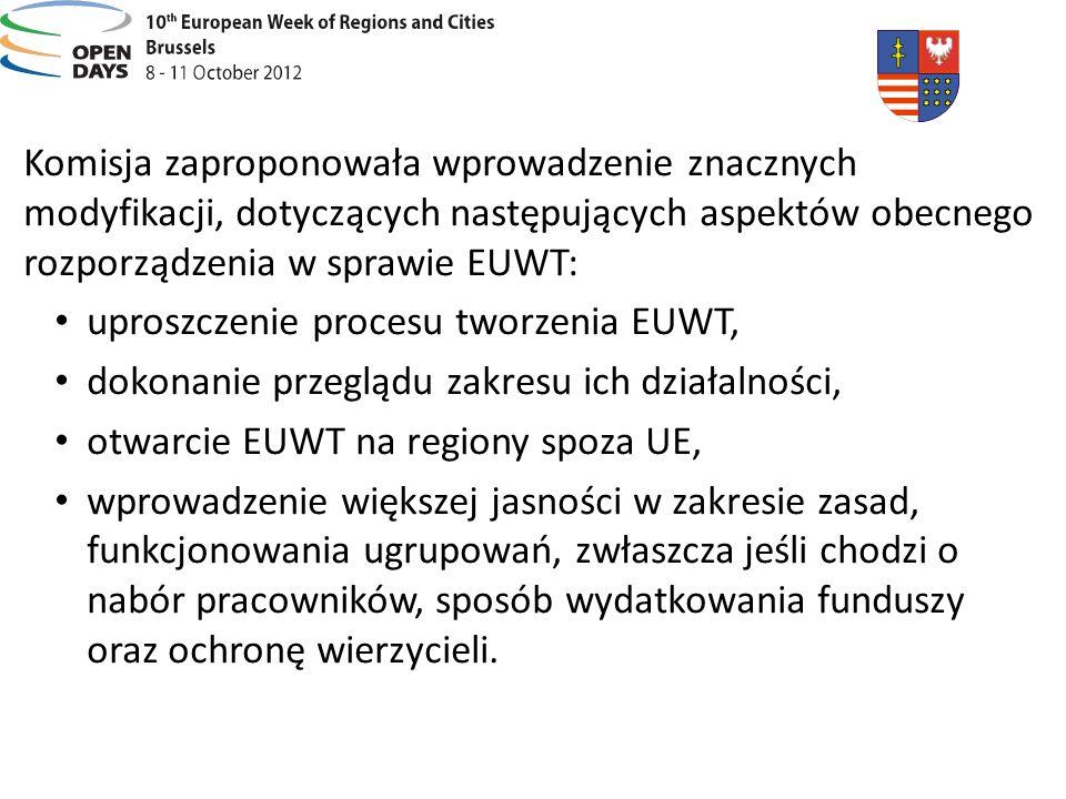 Komisja zaproponowała wprowadzenie znacznych modyfikacji, dotyczących następujących aspektów obecnego rozporządzenia w sprawie EUWT: uproszczenie proc