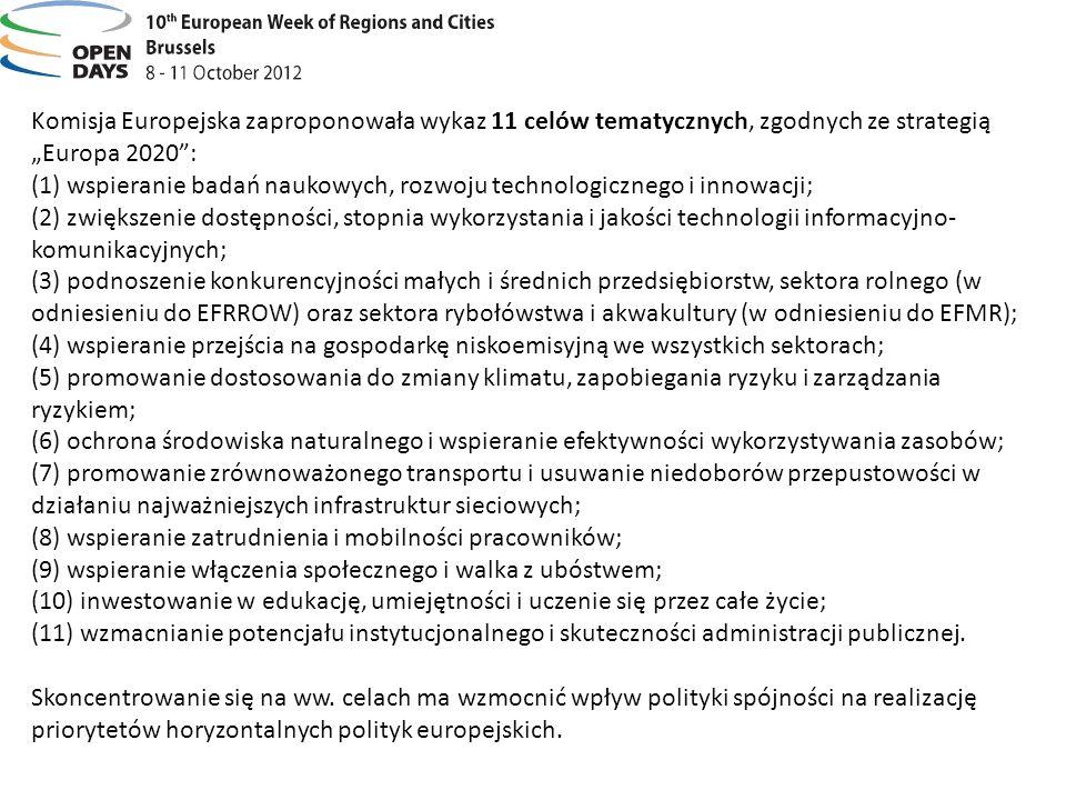 Komisja Europejska zaproponowała wykaz 11 celów tematycznych, zgodnych ze strategią Europa 2020: (1) wspieranie badań naukowych, rozwoju technologiczn