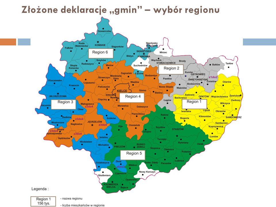 Złożone deklaracje gmin – wybór regionu