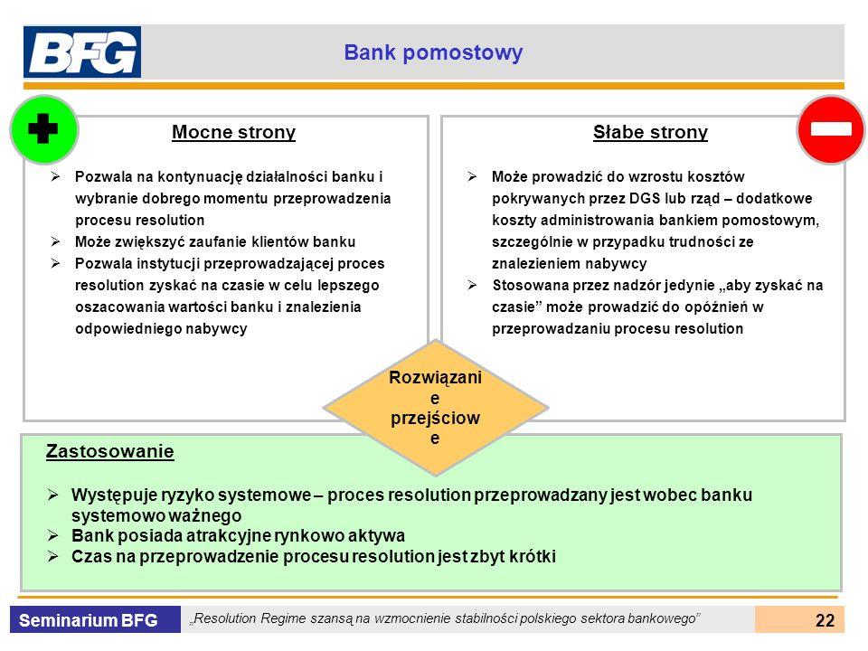 Seminarium BFG Resolution Regime szansą na wzmocnienie stabilności polskiego sektora bankowego 22 Bank pomostowy Mocne strony Pozwala na kontynuację d