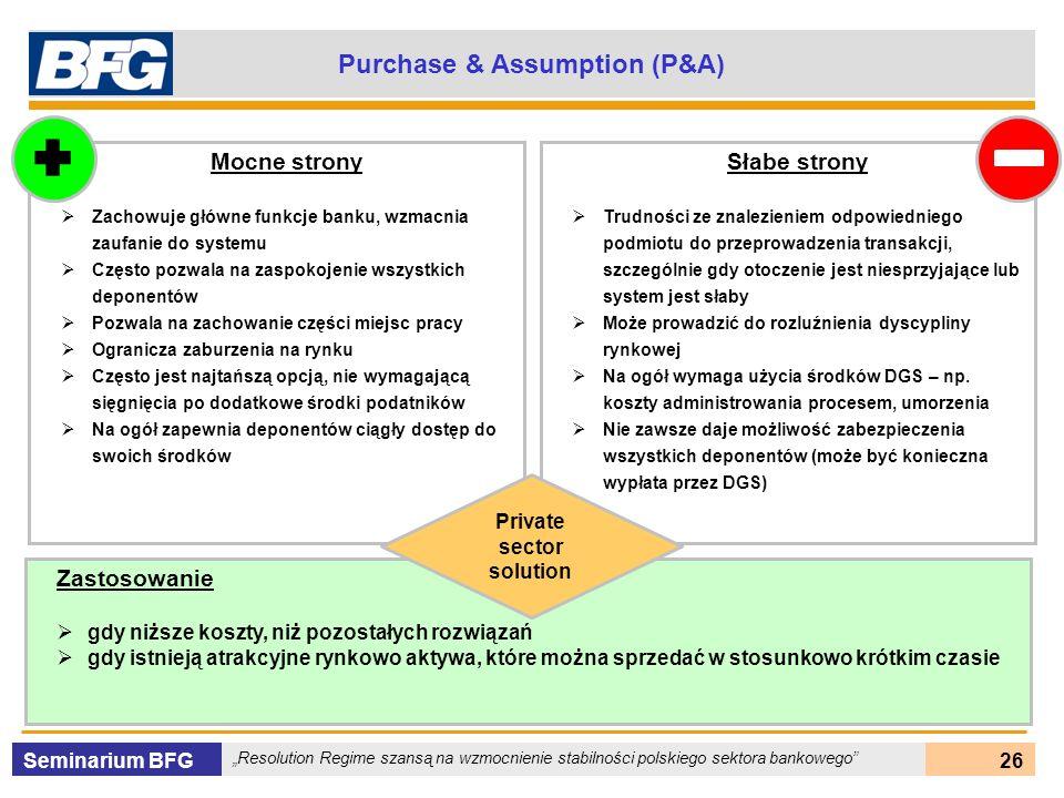 Seminarium BFG Resolution Regime szansą na wzmocnienie stabilności polskiego sektora bankowego 26 Purchase & Assumption (P&A) Mocne strony Zachowuje g