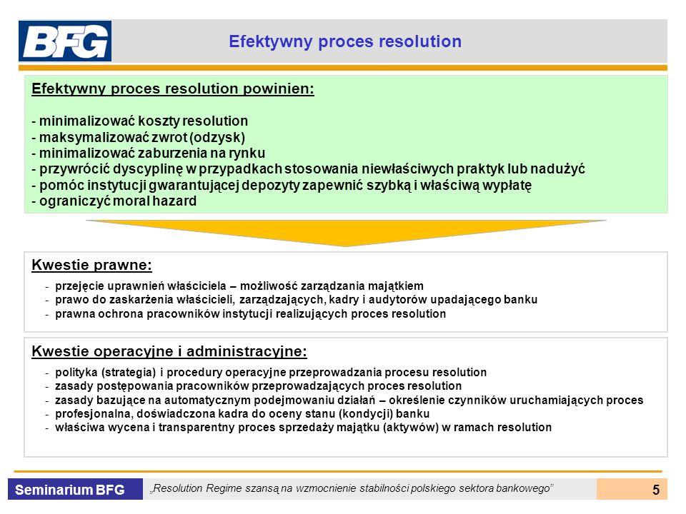 Seminarium BFG Resolution Regime szansą na wzmocnienie stabilności polskiego sektora bankowego 26 Purchase & Assumption (P&A) Mocne strony Zachowuje główne funkcje banku, wzmacnia zaufanie do systemu Często pozwala na zaspokojenie wszystkich deponentów Pozwala na zachowanie części miejsc pracy Ogranicza zaburzenia na rynku Często jest najtańszą opcją, nie wymagającą sięgnięcia po dodatkowe środki podatników Na ogół zapewnia deponentów ciągły dostęp do swoich środków Słabe strony Trudności ze znalezieniem odpowiedniego podmiotu do przeprowadzenia transakcji, szczególnie gdy otoczenie jest niesprzyjające lub system jest słaby Może prowadzić do rozluźnienia dyscypliny rynkowej Na ogół wymaga użycia środków DGS – np.