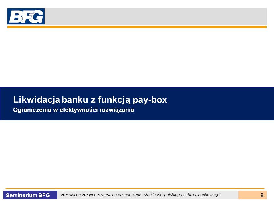 Seminarium BFG Resolution Regime szansą na wzmocnienie stabilności polskiego sektora bankowego 20 Warunki dla utworzenia Banku Pomostowego Ryzyko systemowe Duże znaczenie banku dla sektora finansowego i gospodarki kraju Potrzeba utrzymania funkcjonowania banku Benchmark kosztowy Możliwość niższych kosztów w stosunku do pay-box Możliwość przygotowania resolution w krótkim terminie Istnieje zainteresowanie nabywców Złożoność banku TAK Rynek nabywców NIE oraz