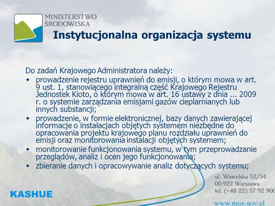 Instytucjonalna organizacja systemu Do zadań Krajowego Administratora należy: prowadzenie rejestru uprawnień do emisji, o którym mowa w art.