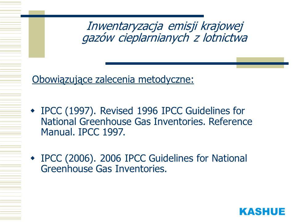 Inwentaryzacja emisji krajowej gazów cieplarnianych z lotnictwa Obowiązujące zalecenia metodyczne: IPCC (1997). Revised 1996 IPCC Guidelines for Natio