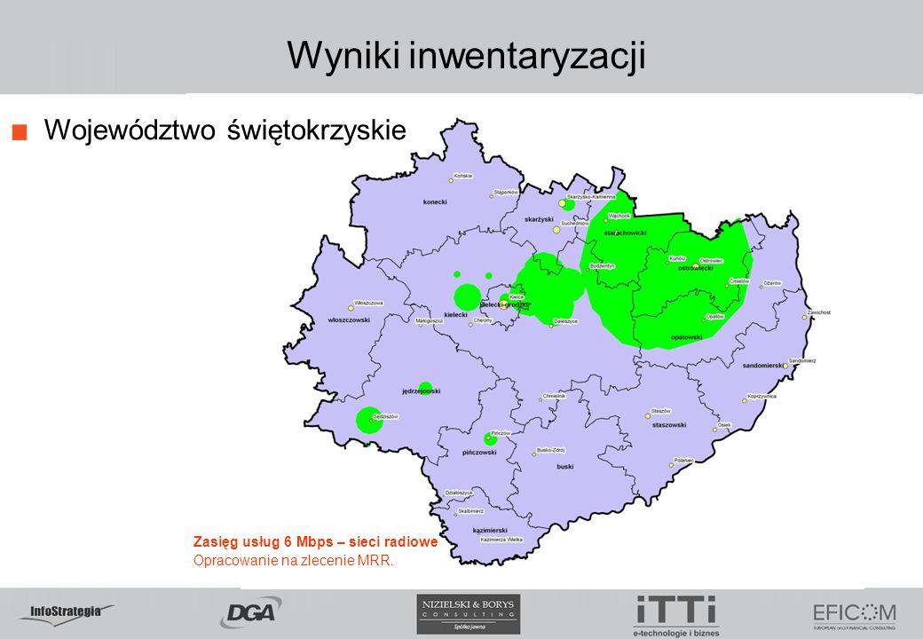 Wyniki inwentaryzacji Województwo świętokrzyskie Zasięg usług 6 Mbps – sieci radiowe Opracowanie na zlecenie MRR.