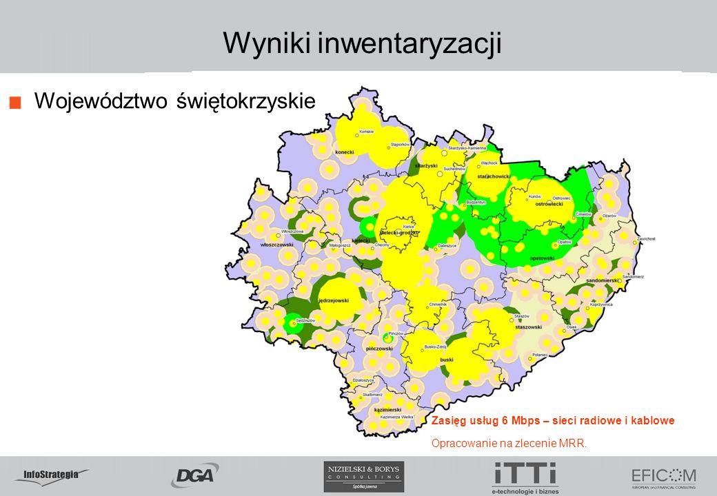 Wyniki inwentaryzacji Województwo świętokrzyskie Zasięg usług 6 Mbps – sieci radiowe i kablowe Opracowanie na zlecenie MRR.