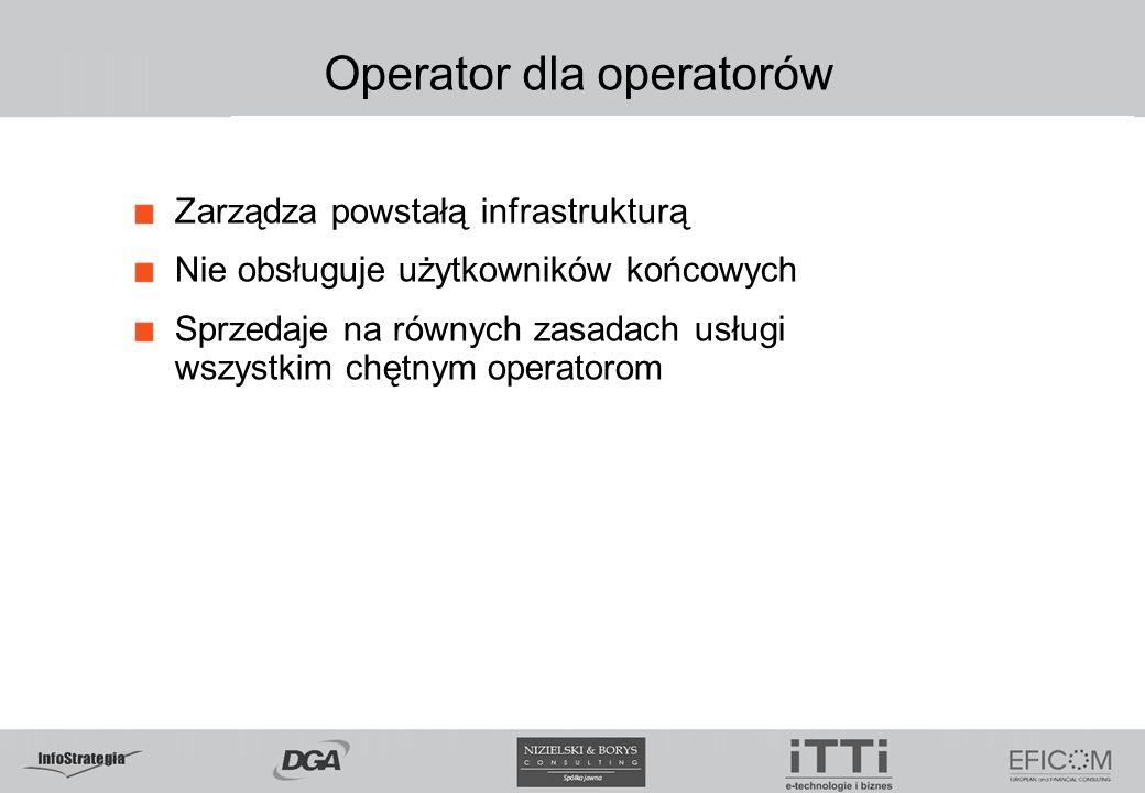 Operator dla operatorów Zarządza powstałą infrastrukturą Nie obsługuje użytkowników końcowych Sprzedaje na równych zasadach usługi wszystkim chętnym operatorom