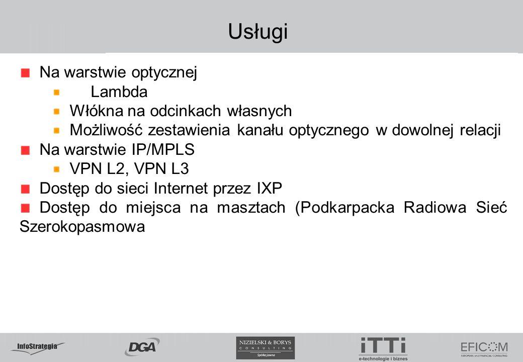 Usługi Na warstwie optycznej Lambda Włókna na odcinkach własnych Możliwość zestawienia kanału optycznego w dowolnej relacji Na warstwie IP/MPLS VPN L2, VPN L3 Dostęp do sieci Internet przez IXP Dostęp do miejsca na masztach (Podkarpacka Radiowa Sieć Szerokopasmowa