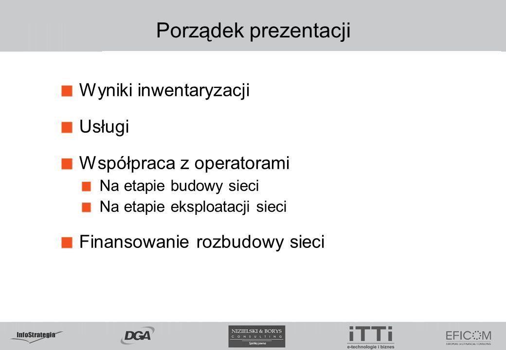 Porządek prezentacji Wyniki inwentaryzacji Usługi Współpraca z operatorami Na etapie budowy sieci Na etapie eksploatacji sieci Finansowanie rozbudowy sieci