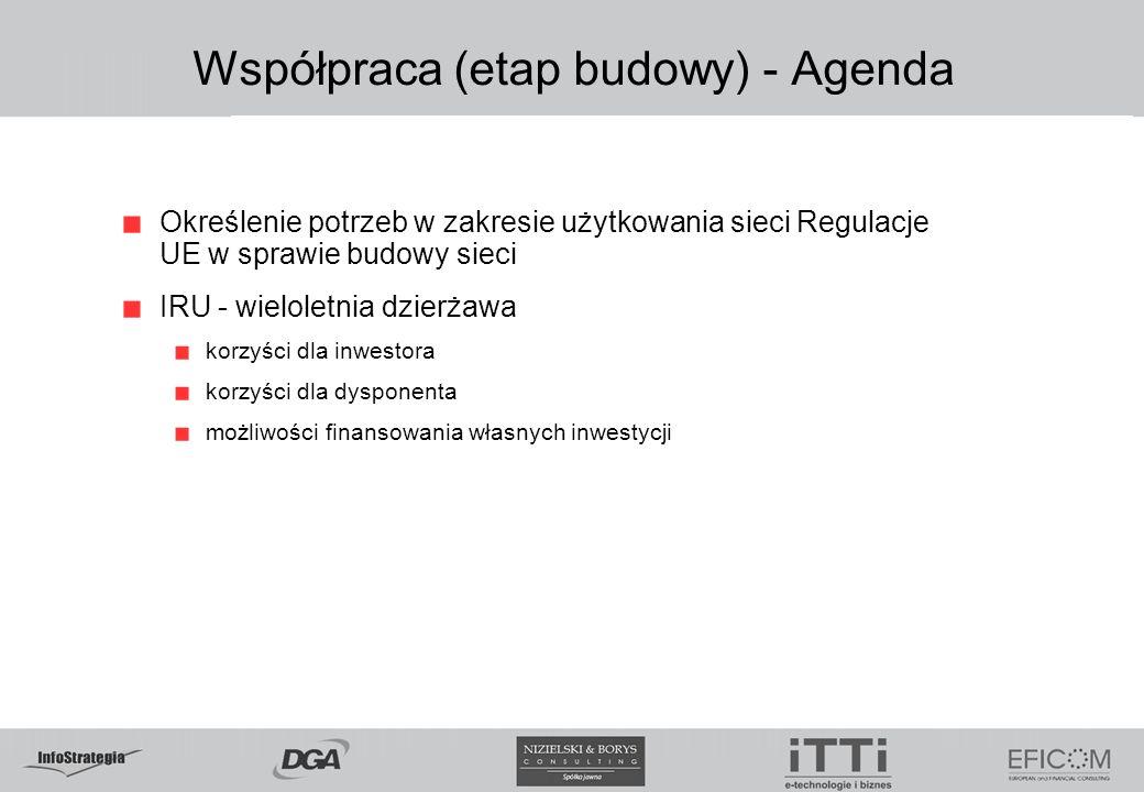 Współpraca (etap budowy) - Agenda Określenie potrzeb w zakresie użytkowania sieci Regulacje UE w sprawie budowy sieci IRU - wieloletnia dzierżawa korzyści dla inwestora korzyści dla dysponenta możliwości finansowania własnych inwestycji