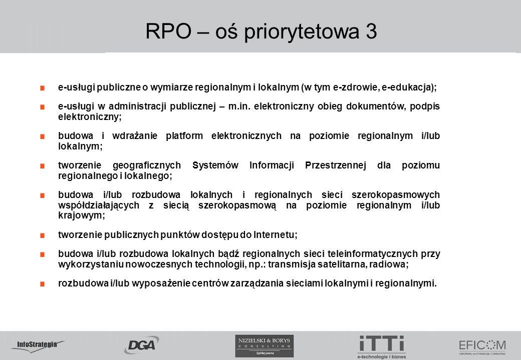RPO – oś priorytetowa 3 e-usługi publiczne o wymiarze regionalnym i lokalnym (w tym e-zdrowie, e-edukacja); e-usługi w administracji publicznej – m.in.