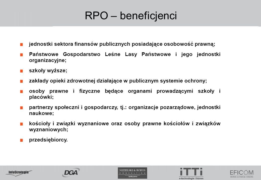 RPO – beneficjenci jednostki sektora finansów publicznych posiadające osobowość prawną; Państwowe Gospodarstwo Leśne Lasy Państwowe i jego jednostki organizacyjne; szkoły wyższe; zakłady opieki zdrowotnej działające w publicznym systemie ochrony; osoby prawne i fizyczne będące organami prowadzącymi szkoły i placówki; partnerzy społeczni i gospodarczy, tj.: organizacje pozarządowe, jednostki naukowe; kościoły i związki wyznaniowe oraz osoby prawne kościołów i związków wyznaniowych; przedsiębiorcy.