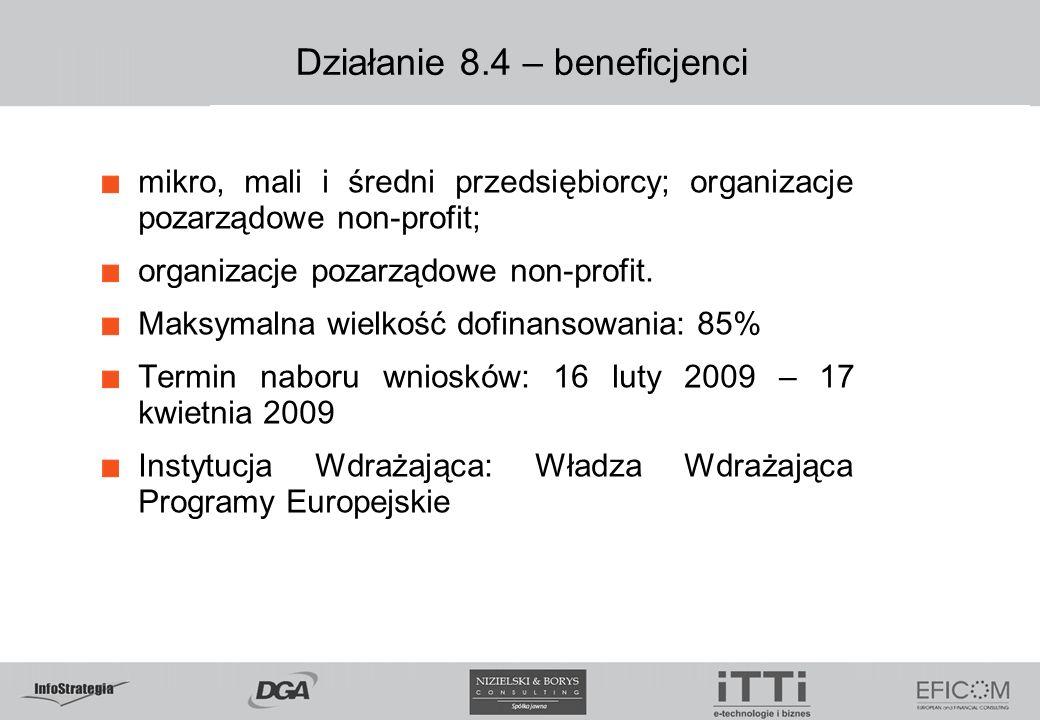 Działanie 8.4 – beneficjenci mikro, mali i średni przedsiębiorcy; organizacje pozarządowe non-profit; organizacje pozarządowe non-profit.