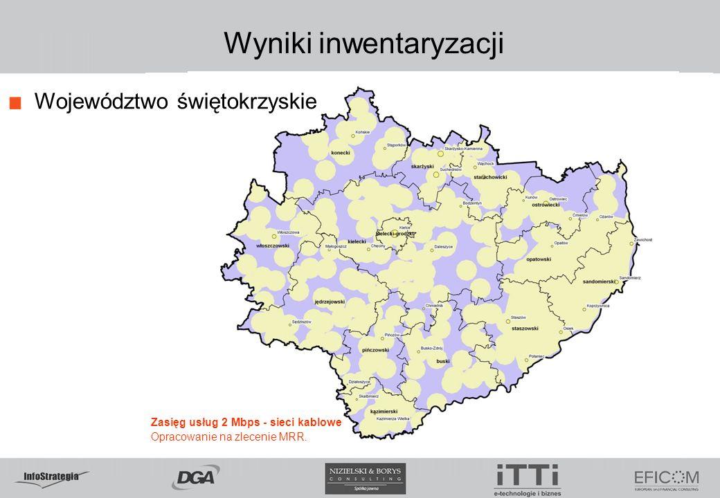 Wyniki inwentaryzacji Województwo świętokrzyskie Zasięg usług 2 Mbps - sieci kablowe Opracowanie na zlecenie MRR.