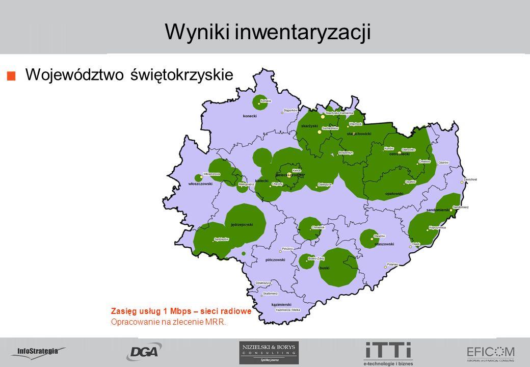 Wyniki inwentaryzacji Województwo świętokrzyskie Zasięg usług 1 Mbps – sieci radiowe Opracowanie na zlecenie MRR.