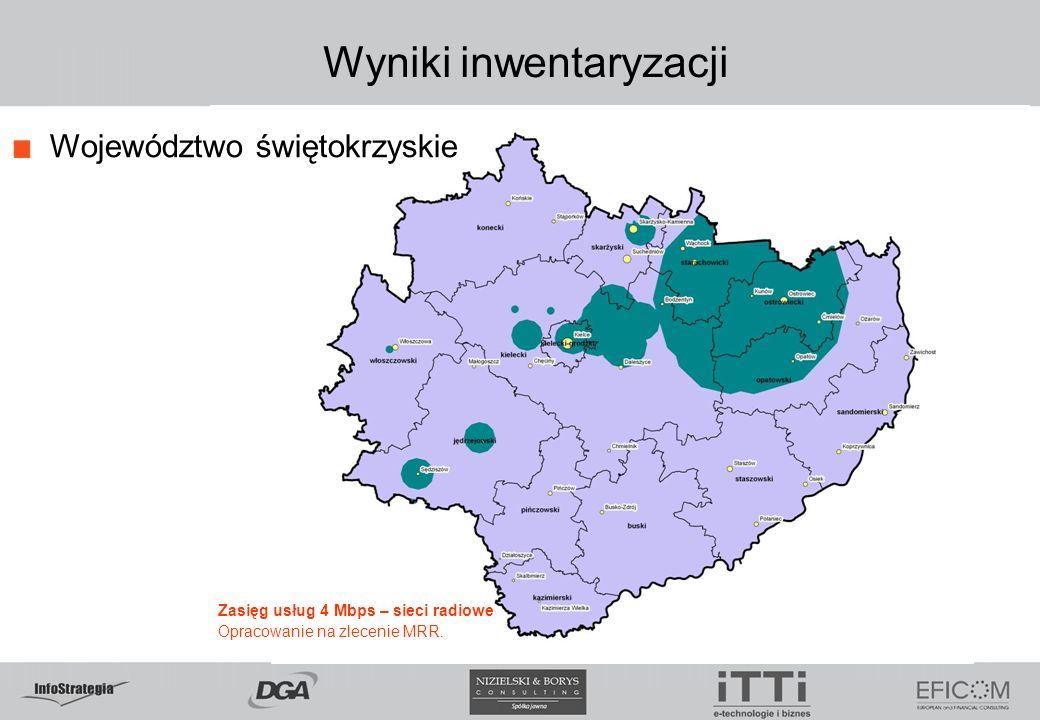Wyniki inwentaryzacji Województwo świętokrzyskie Zasięg usług 4 Mbps – sieci radiowe Opracowanie na zlecenie MRR.