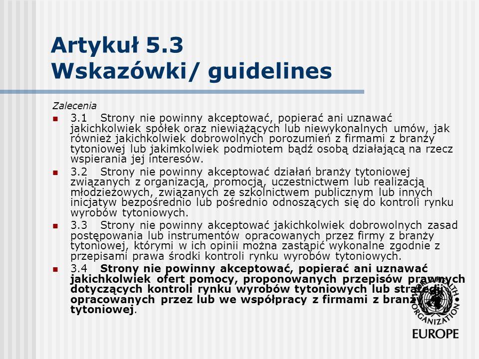 Artykuł 5.3 Wskazówki/ guidelines Zalecenia 3.1Strony nie powinny akceptować, popierać ani uznawać jakichkolwiek spółek oraz niewiążących lub niewykon
