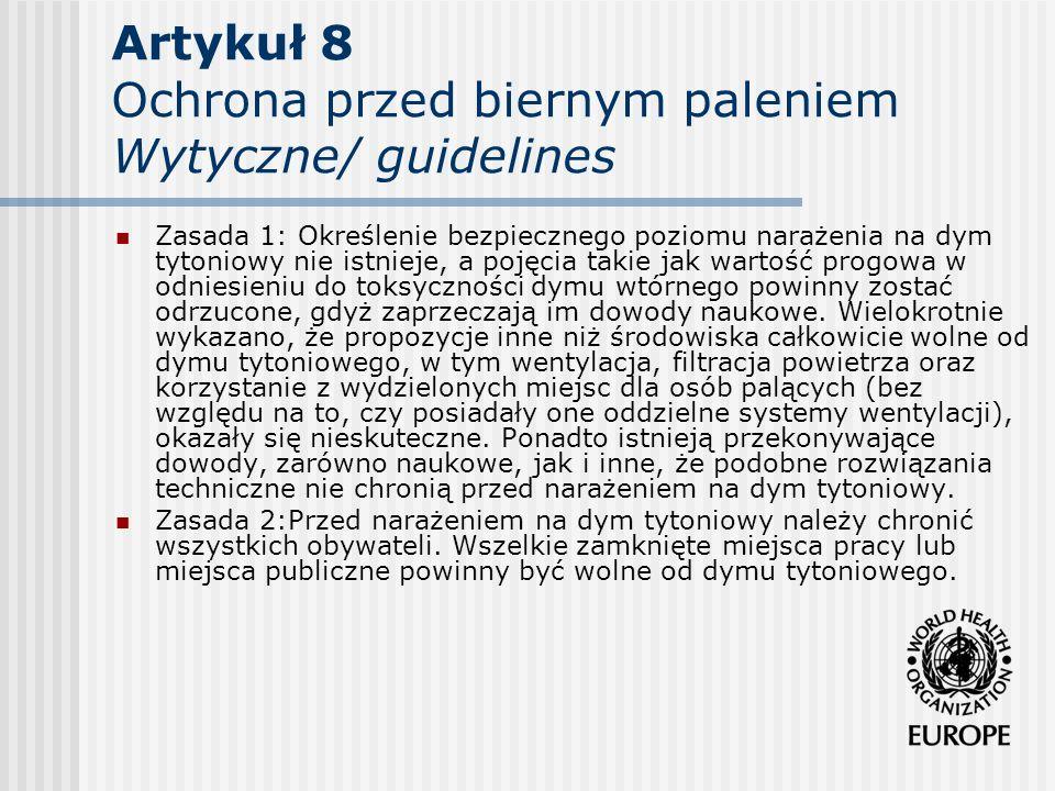 Artykuł 8 Ochrona przed biernym paleniem Wytyczne/ guidelines Zasada 1: Określenie bezpiecznego poziomu narażenia na dym tytoniowy nie istnieje, a poj