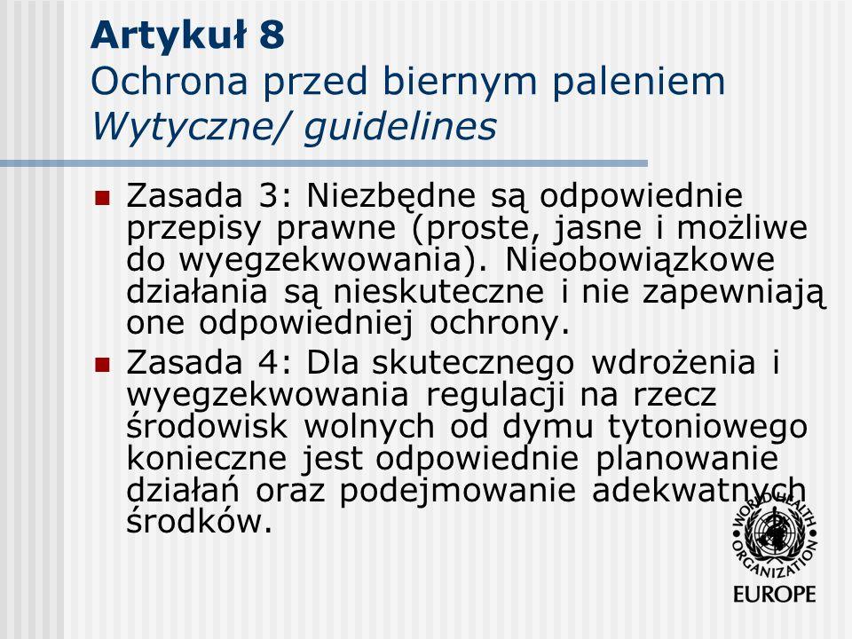 Artykuł 8 Ochrona przed biernym paleniem Wytyczne/ guidelines Zasada 3: Niezbędne są odpowiednie przepisy prawne (proste, jasne i możliwe do wyegzekwo