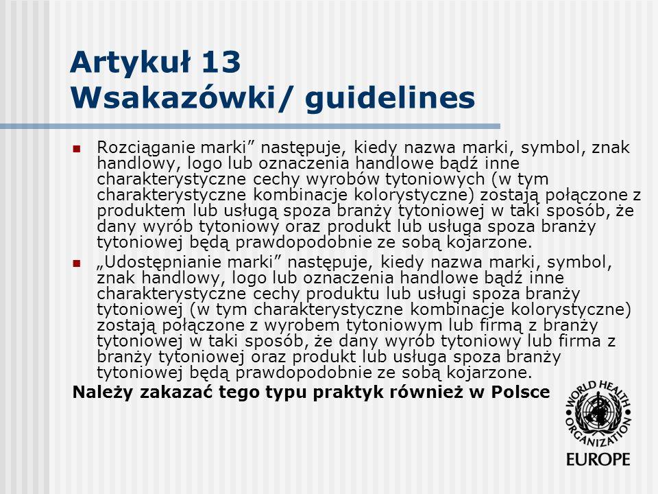 Artykuł 13 Wsakazówki/ guidelines Rozciąganie marki następuje, kiedy nazwa marki, symbol, znak handlowy, logo lub oznaczenia handlowe bądź inne charak
