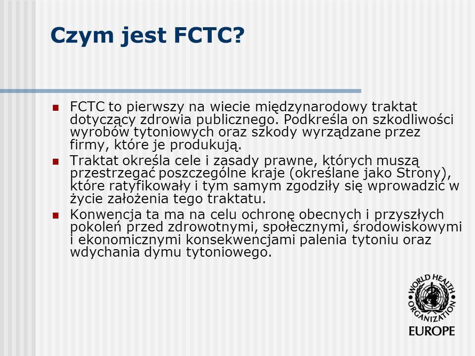 Zasady przewodnie FCTC powszechna informacja o szkodliwości palenia zaangażowanie sfer politycznych współpraca międzynarodowa a zwłaszcza transfer technologii, wiedzy i pomocy finansowej oraz zapewnienie specjalistycznej wiedzy udział społeczeństwa obywatelskiego.