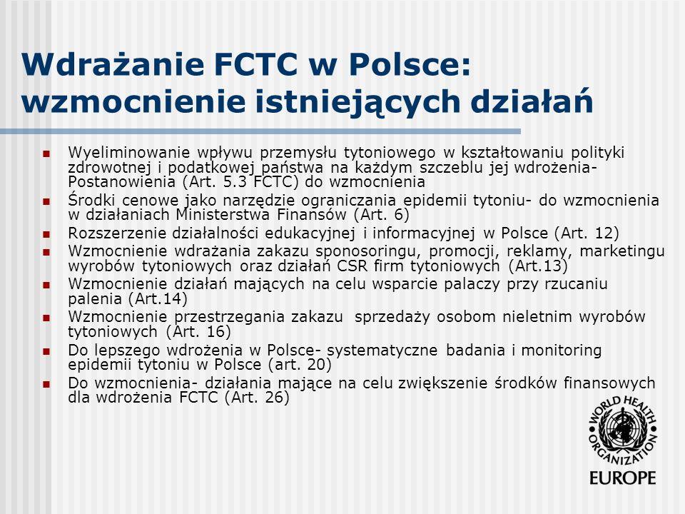Wdrażanie FCTC w Polsce: wzmocnienie istniejących działań Wyeliminowanie wpływu przemysłu tytoniowego w kształtowaniu polityki zdrowotnej i podatkowej