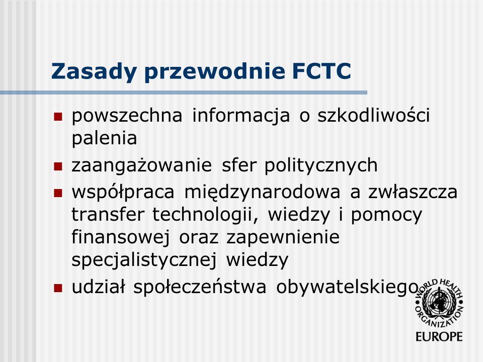 Zasady przewodnie FCTC powszechna informacja o szkodliwości palenia zaangażowanie sfer politycznych współpraca międzynarodowa a zwłaszcza transfer tec