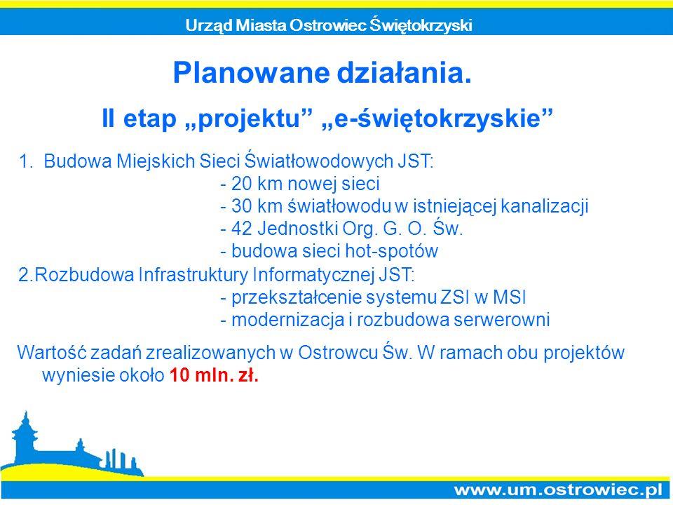 Urząd Miasta Ostrowiec Świętokrzyski Planowane działania. II etap projektu e-świętokrzyskie 1.Budowa Miejskich Sieci Światłowodowych JST: - 20 km nowe