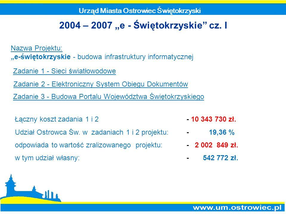 Urząd Miasta Ostrowiec Świętokrzyski 2004 – 2007 e - Świętokrzyskie cz. I Nazwa Projektu: e-świętokrzyskie - budowa infrastruktury informatycznej Zada