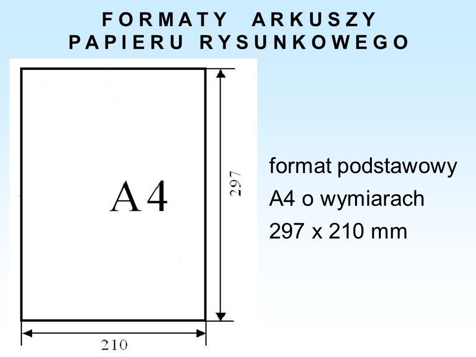 F O R M A T Y A R K U S Z Y P A P I E R U R Y S U N K O W E G O format podstawowy A4 o wymiarach 297 x 210 mm