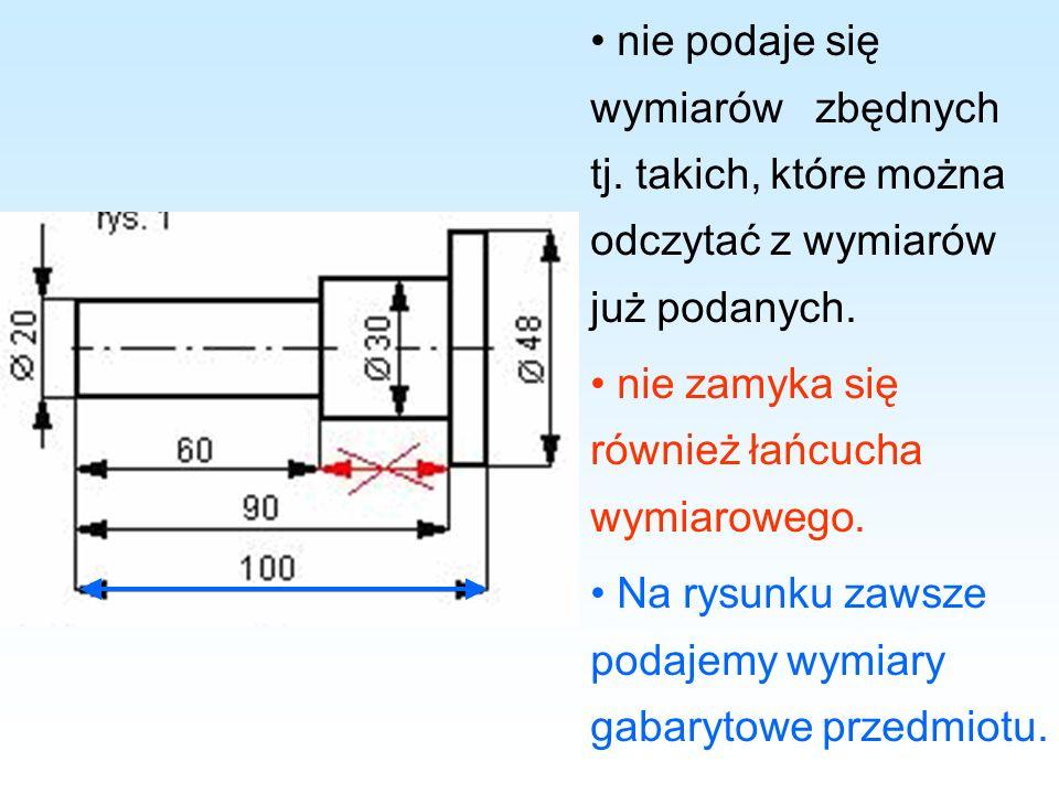nie podaje się wymiarów zbędnych tj. takich, które można odczytać z wymiarów już podanych. nie zamyka się również łańcucha wymiarowego. Na rysunku zaw