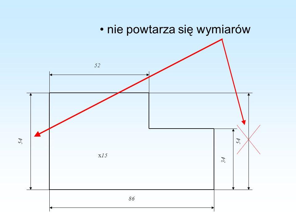 nie powtarza się wymiarów x15 52 34 86 54